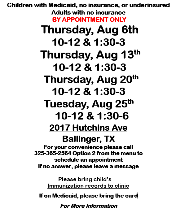 Ballinger August Immunization Clinic